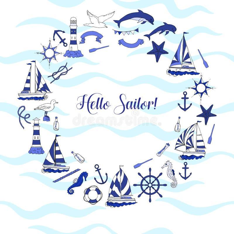 Fondo nautico con le navi royalty illustrazione gratis