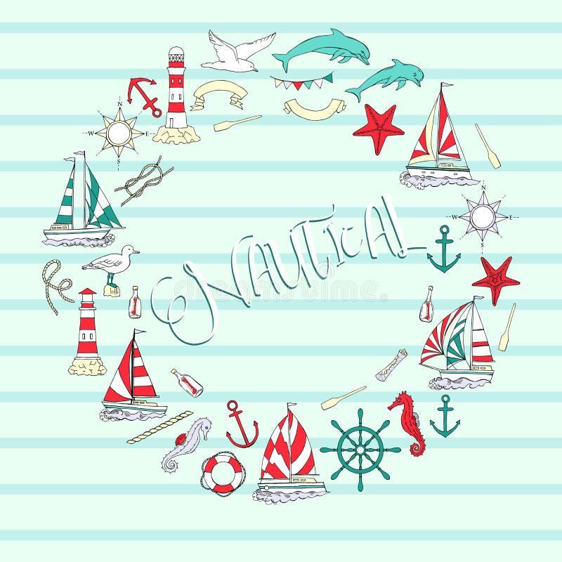Fondo nautico con le navi illustrazione di stock