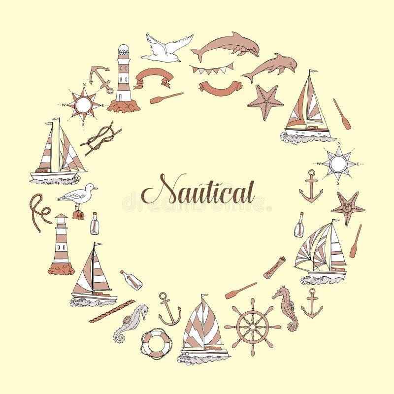 Fondo nautico con le navi illustrazione vettoriale