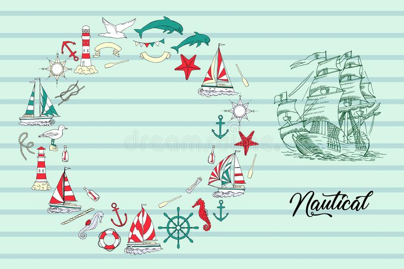 Fondo nautico con le navi e la ruota royalty illustrazione gratis