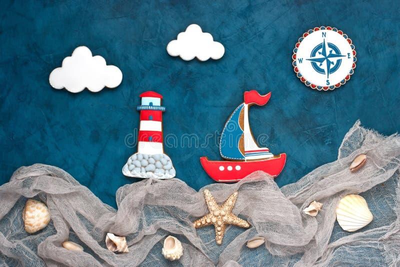 Fondo nautico delle conchiglie e delle stelle marine differenti immagini stock libere da diritti