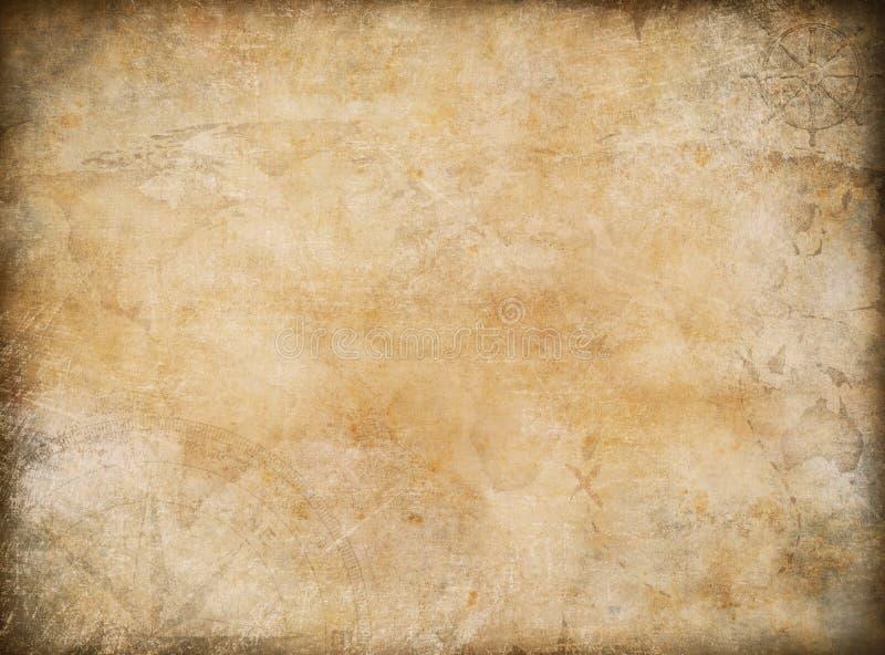 Fondo nautico di tema della vecchia mappa d'annata del tesoro immagini stock libere da diritti