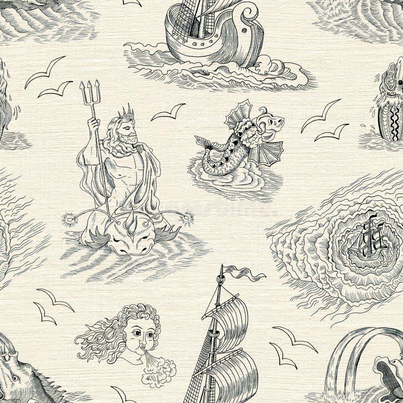 Fondo nautico senza cuciture con le creature mitologiche del mare e la nave d'annata illustrazione vettoriale