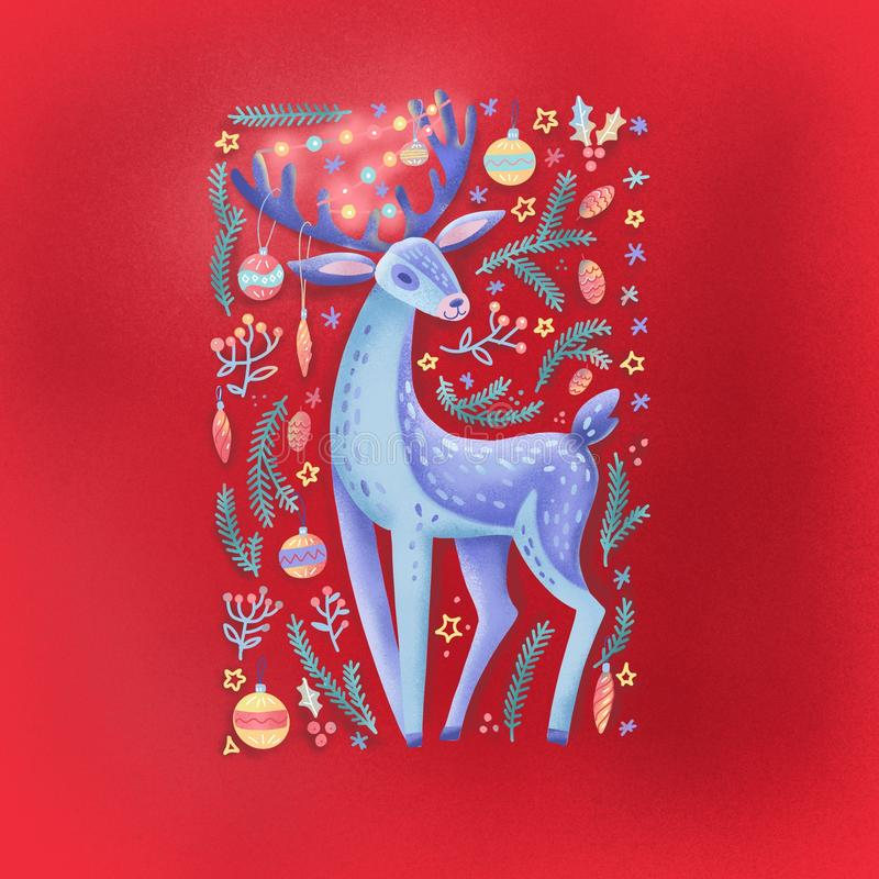 Fondo navideño con animales de ciervo del bosque con una guirnalda en las gargantas, ramas verdes de pino, bayas, nieve. dibujado fotografía de archivo libre de regalías
