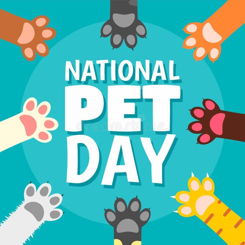 Fondo nazionale di concetto della zampa di giorno dell'animale domestico, stile piano illustrazione di stock