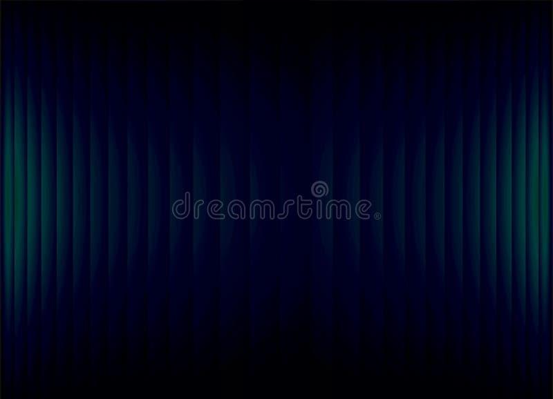 Fondo negro abstracto de la bandera con las tiras de neón azulverdes del trullo ilustración del vector