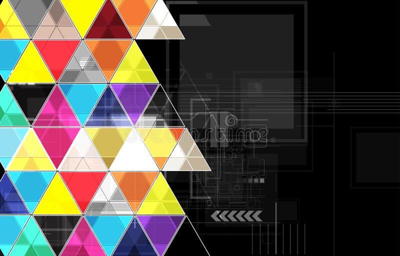 Fondo negro abstracto de la tecnología del triángulo ilustración del vector