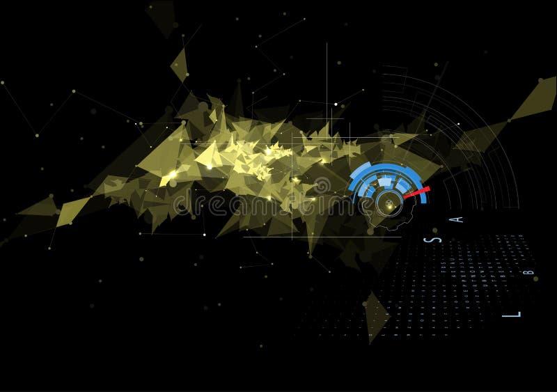Fondo negro abstracto de la tecnología del triángulo y del engranaje de la malla libre illustration