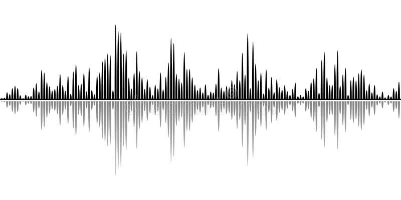 Fondo negro abstracto de ondas acústicas para los partidos, los clubs, los discos y los conciertos ilustración del vector