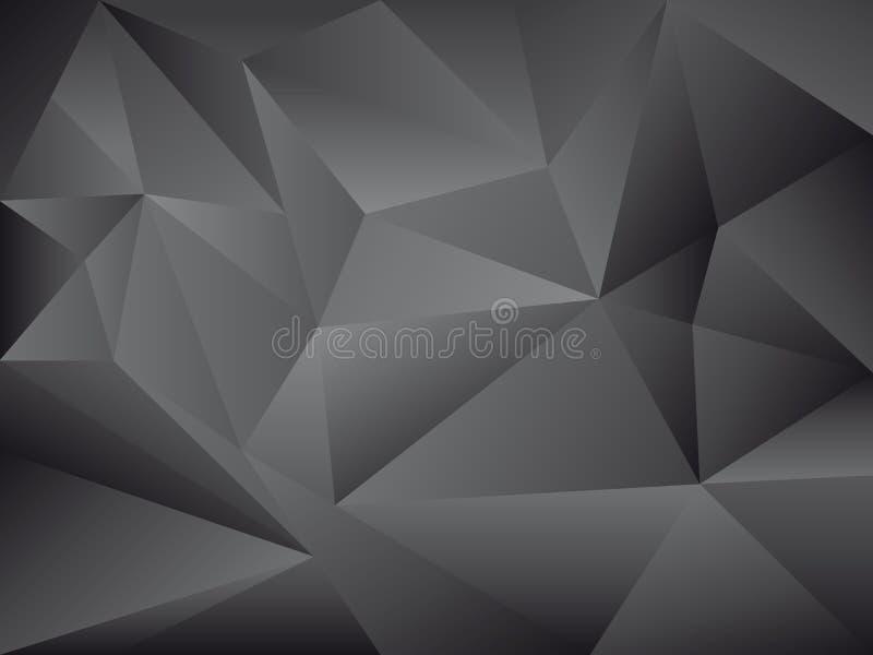Fondo negro abstracto del vector del polígono stock de ilustración