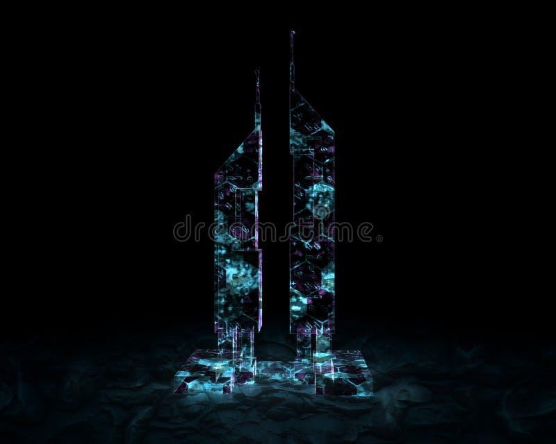 Fondo negro aislado que brilla intensamente del edificio del holograma ilustración del vector