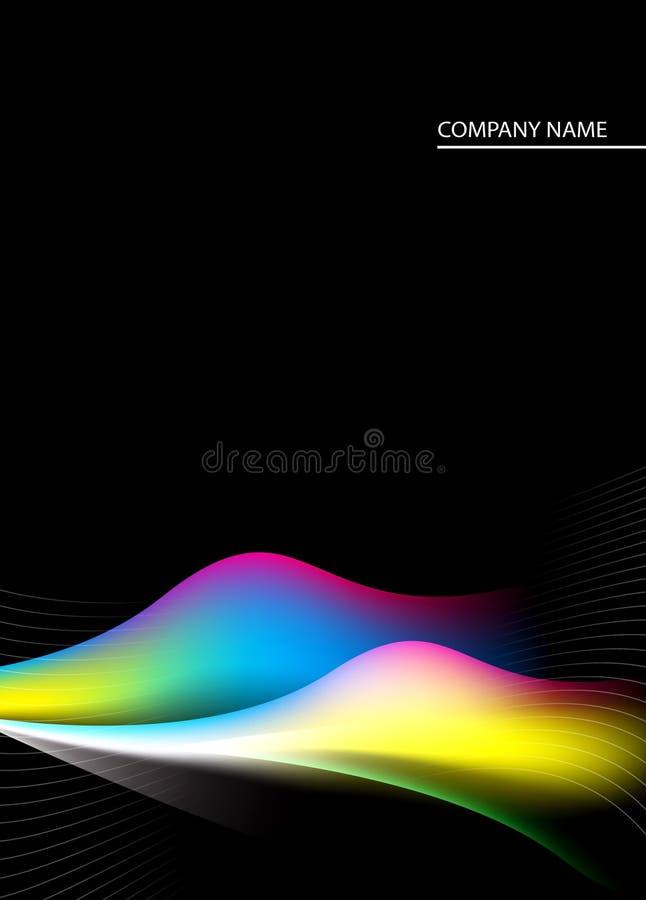 Fondo negro, amarillo, azul, rosado y verde ilustración del vector