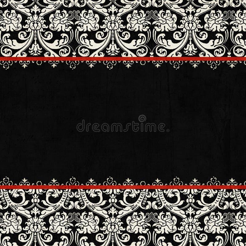 Fondo negro antiguo del damasco de la vendimia stock de ilustración