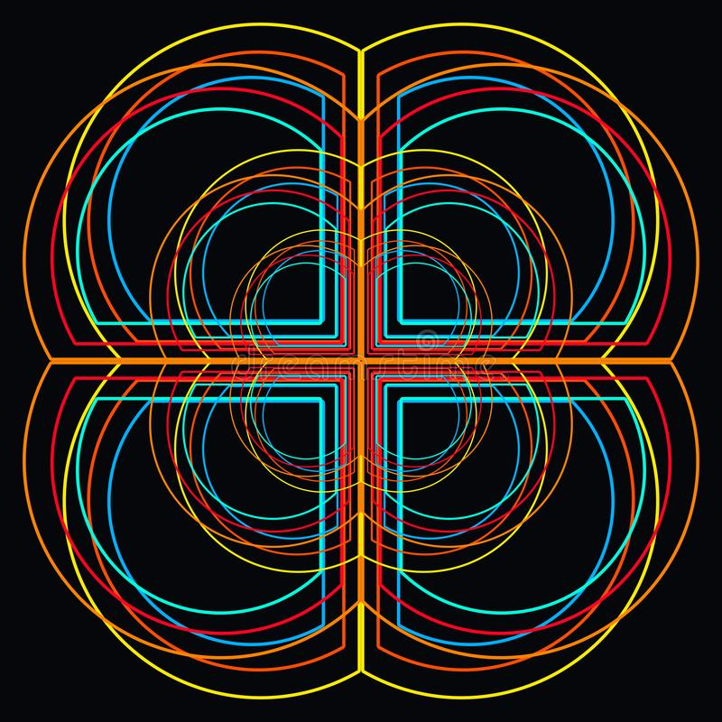 Fondo negro con el modelo colorido abstracto, formas que crean una cruz y una flor libre illustration