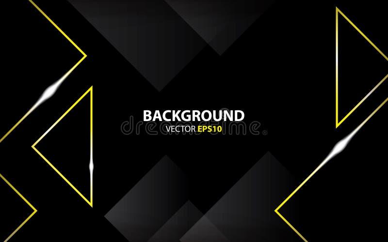 Fondo negro con el oro del triángulo metálico Concepto mínimo stock de ilustración