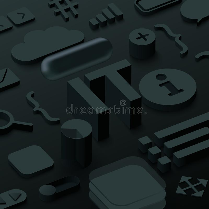 Fondo negro de 3d las TIC con símbolos del web ilustración del vector