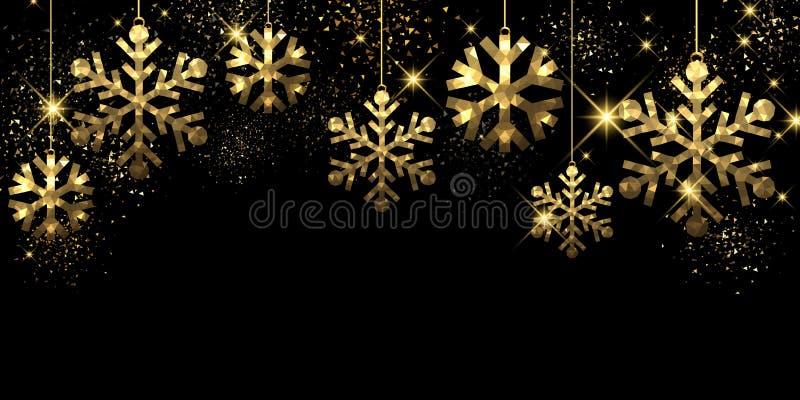 Fondo negro de la Navidad con los copos de nieve ilustración del vector