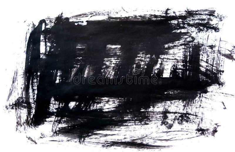 Fondo negro de la tinta pintado por el cepillo Ilustración movimientos negros abstractos del cepillo en el Libro Blanco como fond imagenes de archivo