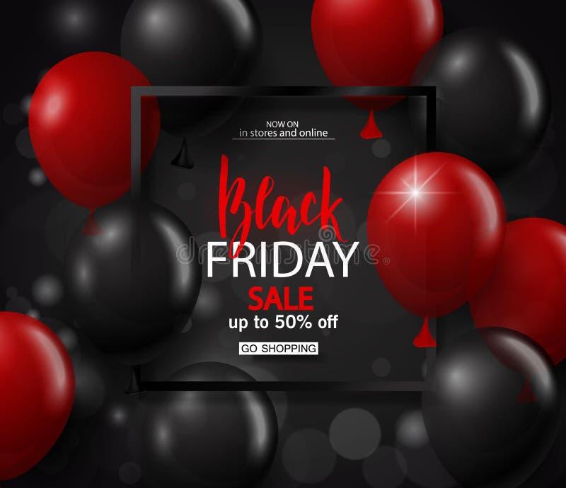 Fondo negro de la venta de viernes con el marco y los globos rojos y negros Diseño moderno Fondo universal del vector para el car ilustración del vector