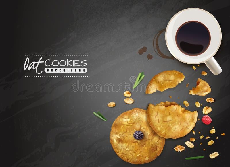 Fondo negro de las galletas de la avena libre illustration