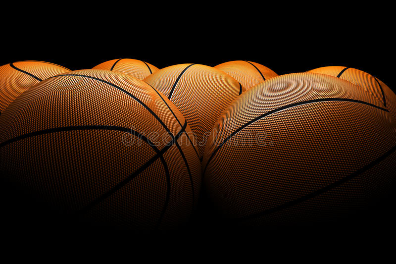 Fondo negro de los baloncestos foto de archivo