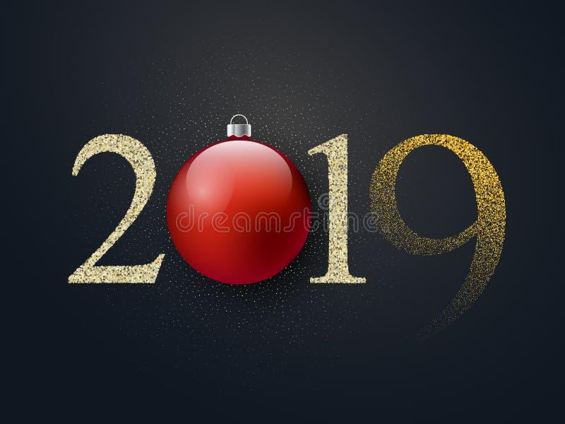 Fondo negro de lujo de la celebración de la Feliz Año Nuevo con la bola de la Navidad, decoración del confeti del brillo Invierno stock de ilustración