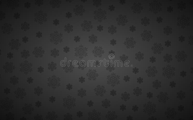 Fondo negro de Navidad con copos de nieve ilustración del vector