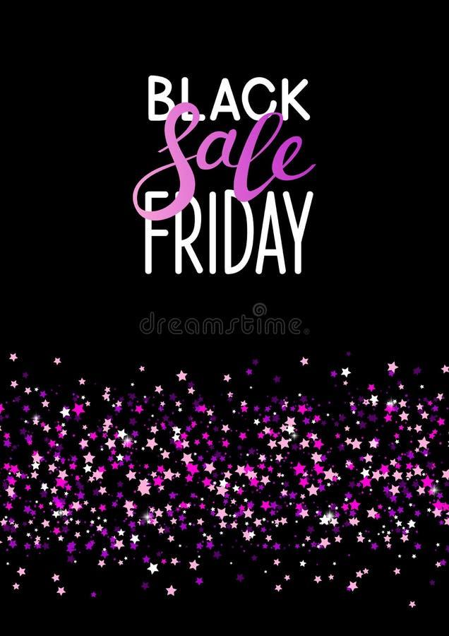 Fondo negro de viernes con las estrellas brillantes libre illustration