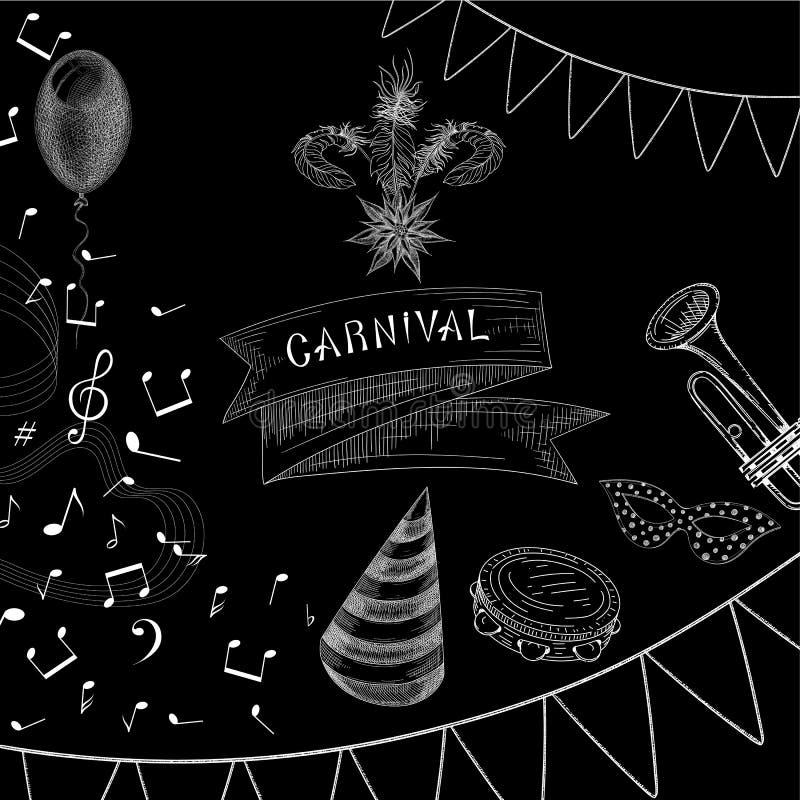 Fondo negro del carnaval con música y banderas libre illustration