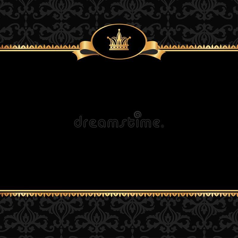 Fondo negro del damasco del vintage con el marco de los elementos de oro imagenes de archivo