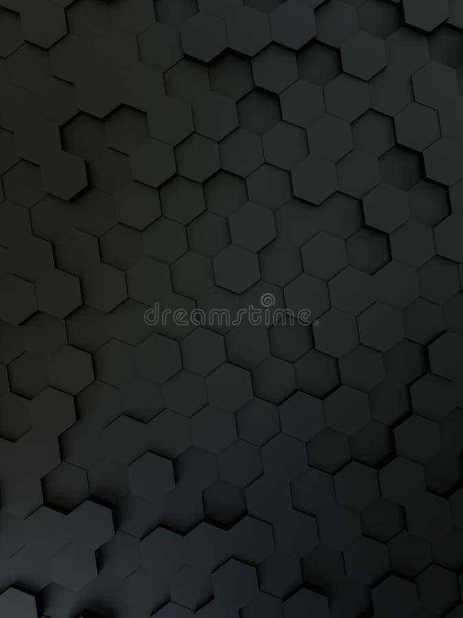 Fondo negro del hexágono stock de ilustración