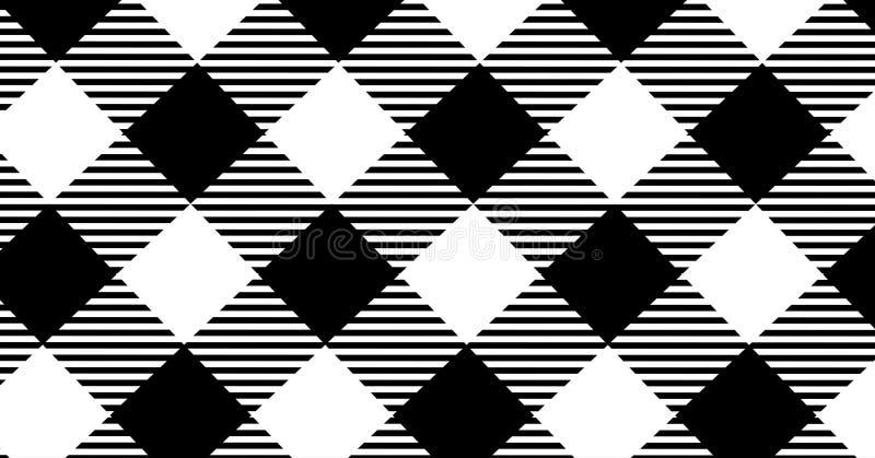 Fondo negro del modelo de la guinga Textura del Rhombus Vector la enfermedad imagenes de archivo