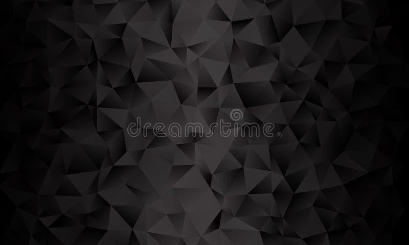 Fondo negro del polígono Imitación del vector del ejemplo 3D Modelo con los triángulos de diversa escala ilustración del vector