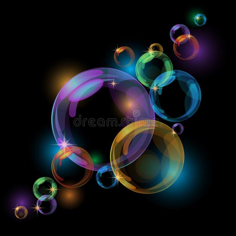 Fondo negro del vector de la burbuja ilustración del vector