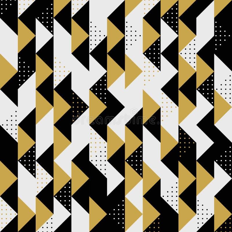 Fondo negro del vector del modelo de puntos del tri?ngulo del oro moderno de los colores Vector eps10 del ejemplo stock de ilustración