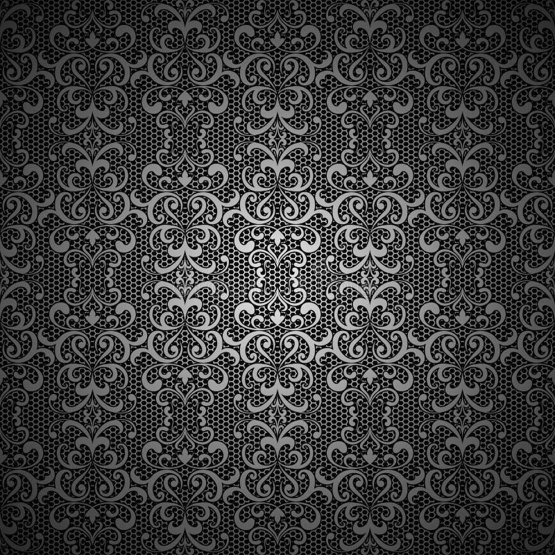 Fondo negro del vintage con el modelo de plata del cordón libre illustration