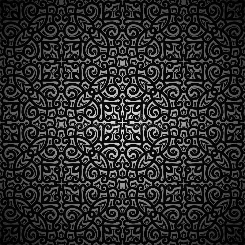 Fondo negro del vintage con swirly el modelo libre illustration