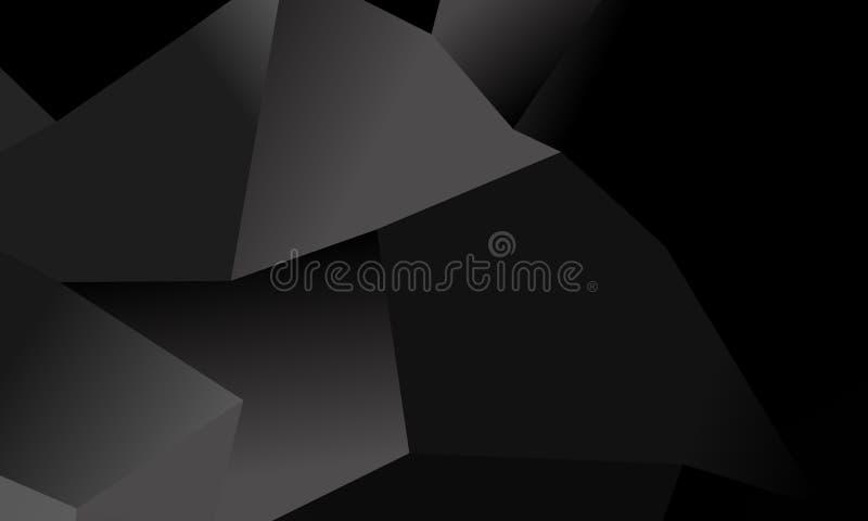 Fondo negro, gris del polígono Imitación del vector del ejemplo 3D Modelo con los triángulos de diversa escala ilustración del vector