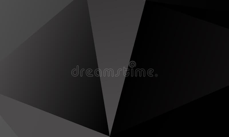 Fondo negro, gris del polígono Imitación del vector del ejemplo 3D Modelo con los triángulos de diversa escala stock de ilustración
