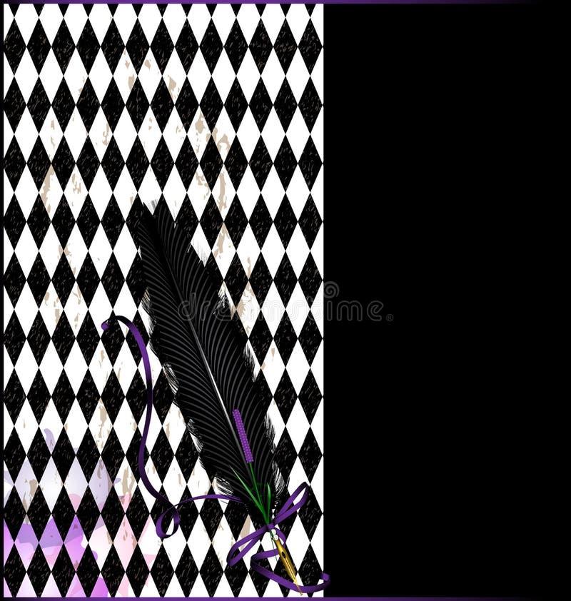Fondo negro púrpura con la pluma stock de ilustración