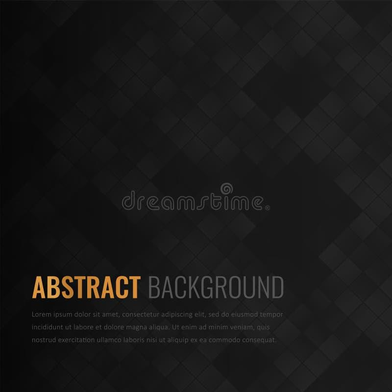 Fondo negro Plantilla geométrica abstracta para el negocio Textura del fondo con el cuadrado y el triángulo Vector ilustración del vector