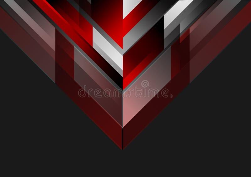 Fondo negro rojo geométrico de la tecnología abstracta ilustración del vector