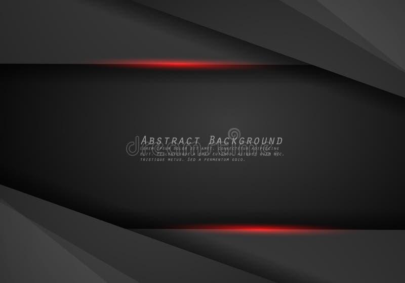 Fondo negro rojo metálico abstracto del concepto de la innovación de la tecnología del diseño de la disposición del marco stock de ilustración