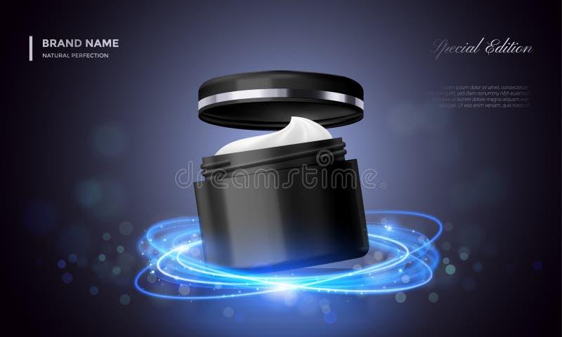 Fondo negro superior del brillo del paquete de la publicidad del vector del tarro cosmético de la crema stock de ilustración
