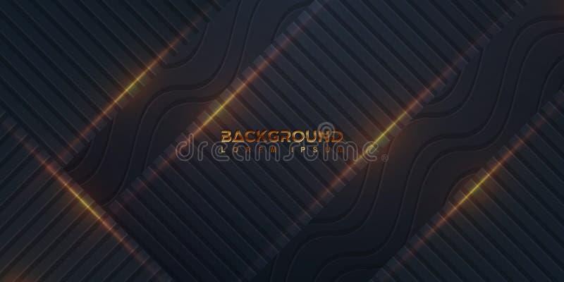 Fondo negro texturizado con una combinación de líneas rectas y de líneas onduladas Un fondo oscuro con un estilo 3D combinado con stock de ilustración
