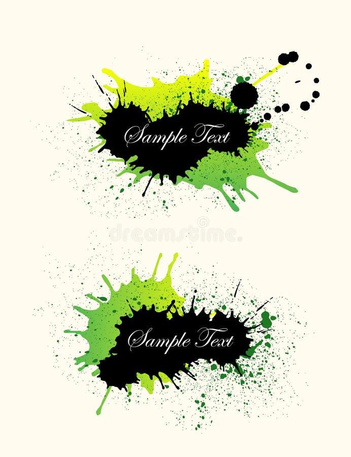 Fondo negro, verde de la bandera del grunge ilustración del vector