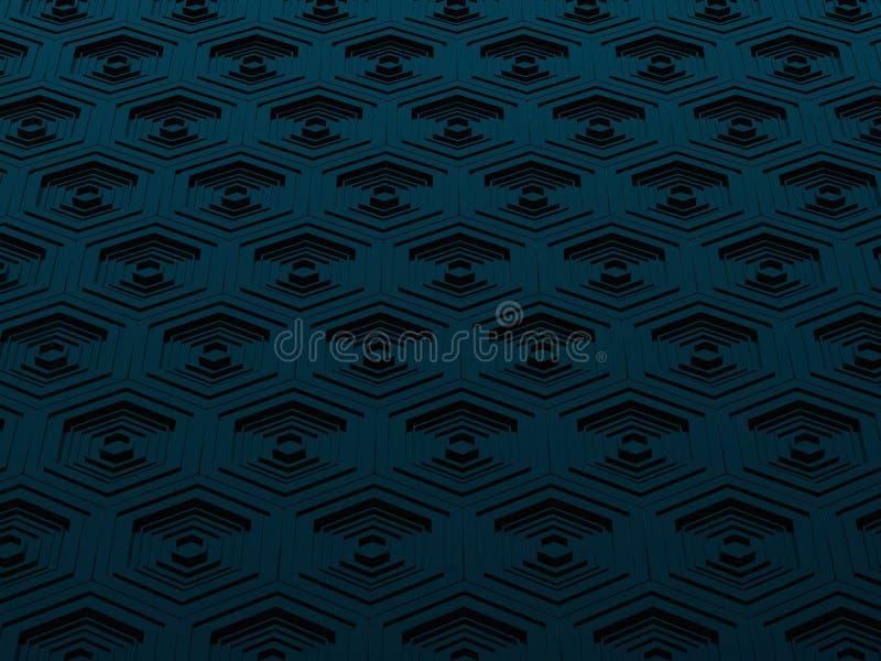 Fondo negro y azul de alta tecnología de los hexágonos libre illustration