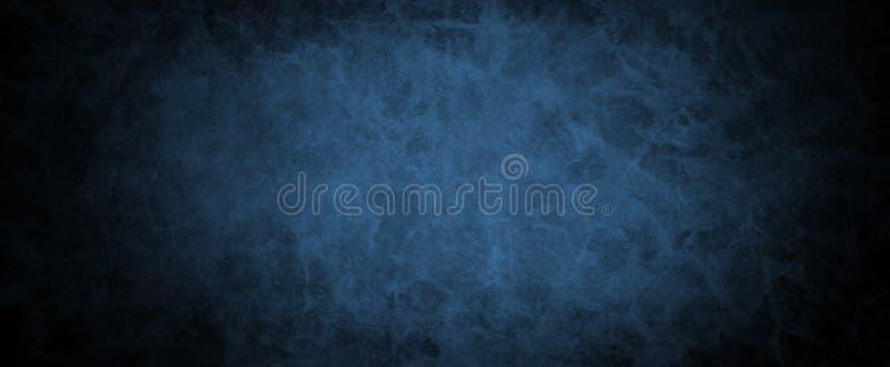 Fondo negro y azul del vintage con textura apenada del grunge y diseño suave del color con la frontera negra oscura fotos de archivo