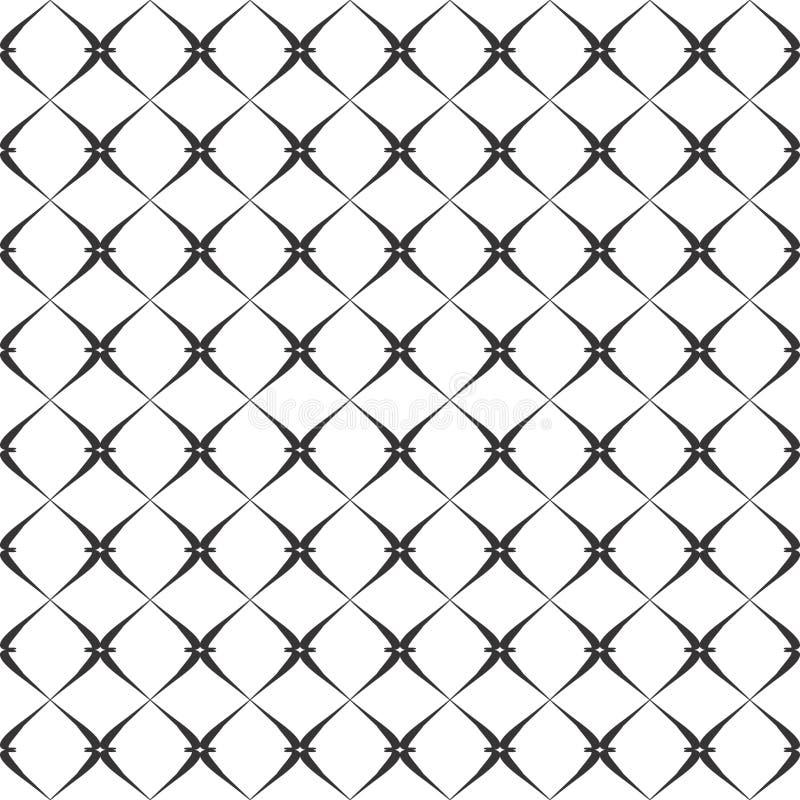 Fondo negro y blanco geométrico floral inconsútil decorativo del modelo stock de ilustración
