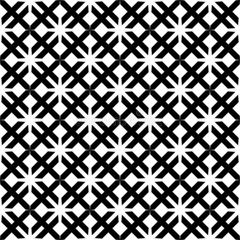 Fondo negro y blanco geométrico floral inconsútil decorativo del modelo ilustración del vector